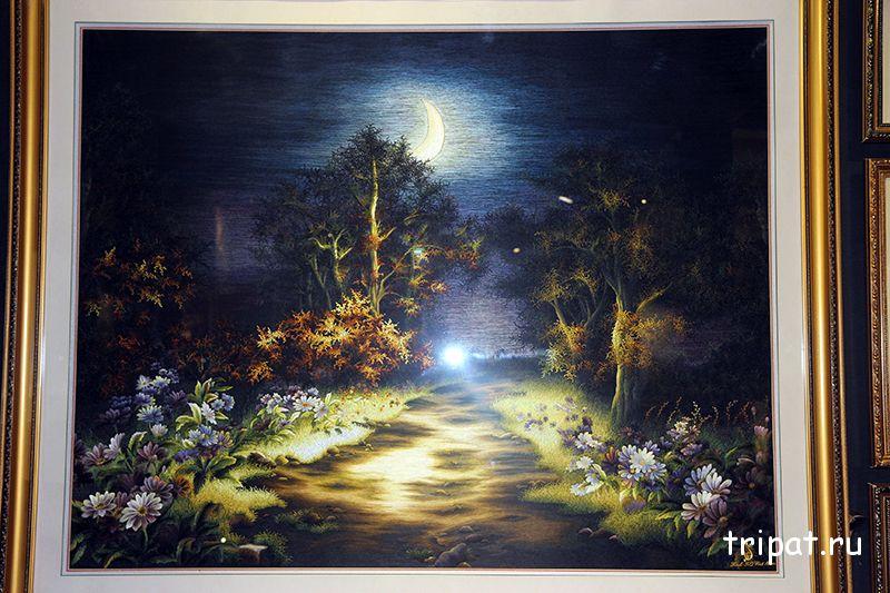 картина из шёлка ночь