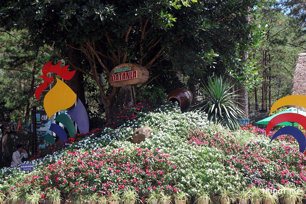 Клумба с цветами перед входом в Датанла